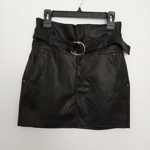Bershka Black Belted Faux Leather Mini Skirt